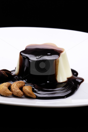 Vanilla pudding and chocolate stock photo, Vanilla pudding and chocolate on top by Francesco Perre