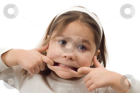 Funny Face stock photo, A 4 year old toddler making a funny face, isolated against a white background by Richard Nelson