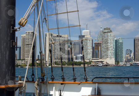 Toronto stock photo, Toronto skyline from sail ship on Ontario lake by Pavel Cheiko