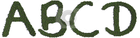 Tree Alphabet stock photo, A series of CG letters made up of trees. Copy and combine them to make your own green message! by Allan Tooley