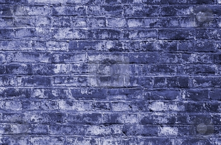 Brick Wall stock photo, Red bricks wall in blue tone with an regular pattern as a background by Henrik Lehnerer