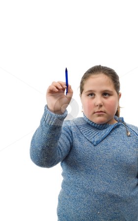 Isolated Girl Writing On White stock photo, A young female child holding a pen and writing  your text on white by Richard Nelson