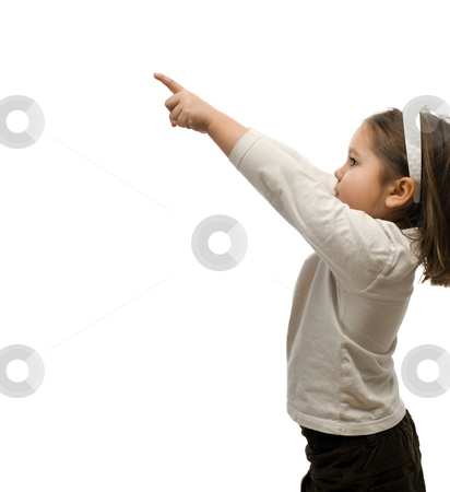 Child Pointing stock photo, A young girl pointing at your text, isolated against a white background by Richard Nelson