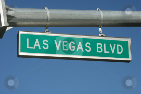 Las Vegas Sign stock photo, A Las Vegas Blvd street sign hanging from a pole by Kevin Tietz