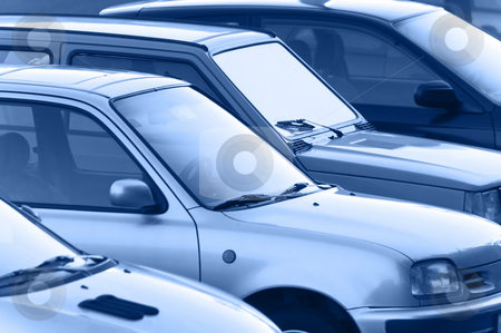 Cars stock photo, Parking cars - blue toned by Massimiliano Leban