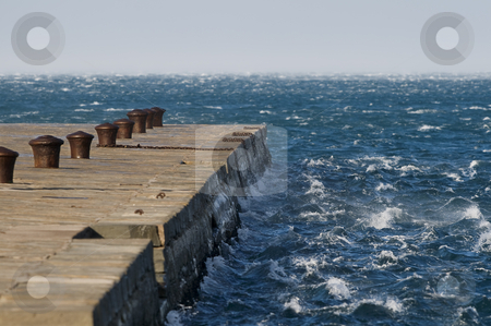 Waves against pier stock photo, Windy day in Trieste (Italy) with Molo Audace by Massimiliano Leban