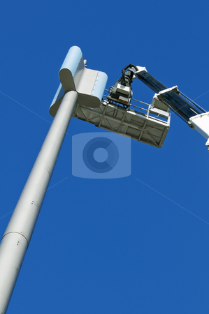 GSM antenna stock photo, Installation of a GSM antenna with a platform by Massimiliano Leban