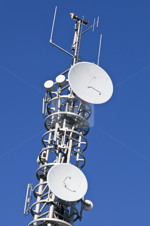 Antenna stock photo, Top section of antenna with parabolics by Massimiliano Leban