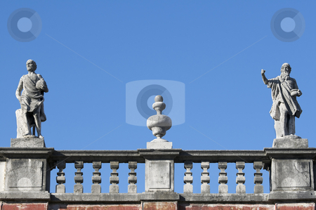 Statues stock photo, Statues and fieze of an italian building rooftop by Massimiliano Leban