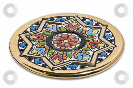 Painted plate stock photo, Handmade coloured pottery painted in gold and brilliant colors by Massimiliano Leban