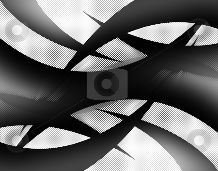 Abstract Halftone Swooshes stock photo, An abstract background illustration with black and white swooshes. by Todd Arena