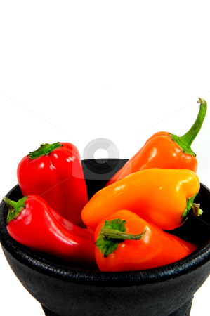 Sweet Peppers stock photo, Assorted colorful sweet peppers in a black bowl by Lynn Bendickson