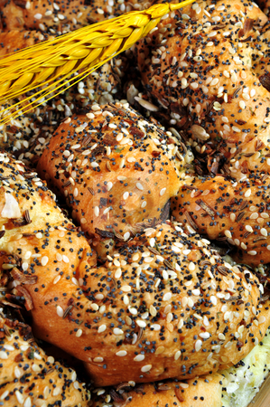 French Bread And Seeds stock photo, A loaf of artisan french bread topped with assorted seeds by Lynn Bendickson