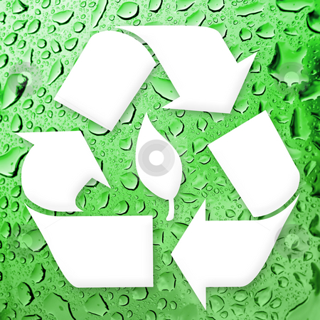 Going Green Recycling stock photo, A white recycling symbol over a water droplets background.  Great for going green! by Todd Arena