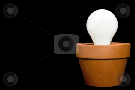 Incandescant bulb in a planter stock photo, Glowing incandescant bulb in a planter with space for copy on the black background by Vince Clements