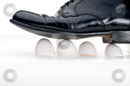 Walking on eggshells stock photo, Black business show walking on eggshells by Vince Clements