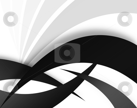 Abstract Swooshes stock photo, A black and white background - great for use as a design template. by Todd Arena