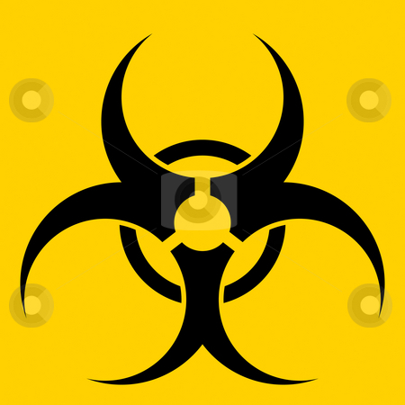 Biohazard stock photo, Biohazard symbol over a yellow. by Todd Arena