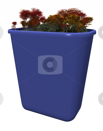 Recycle stock photo, A CG recycling bin is populated with a clean forest. The front has been left blank to enable customization. by Allan Tooley