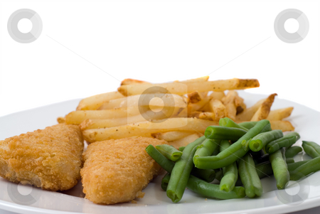 Battered Fish Meal stock photo, A plate with battered fish, french fries, and green beans, isolated against a white background by Richard Nelson