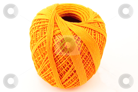 Orange wool clew stock photo, Orange wool clew on white background by Santiago Hernandez