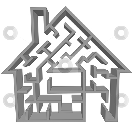 Maze house as a symbol of home hunting puzzle stock vector clipart, A maze house ss a symbol of the real estate hmse hunting puzzle. by Michael Brown