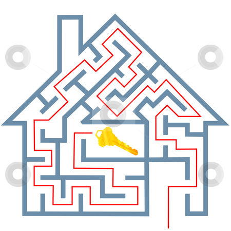 Maze real estate home puzzle solution to house key stock vector clipart, A solution to a real estate home maze puzzle to gold house key. by Michael Brown