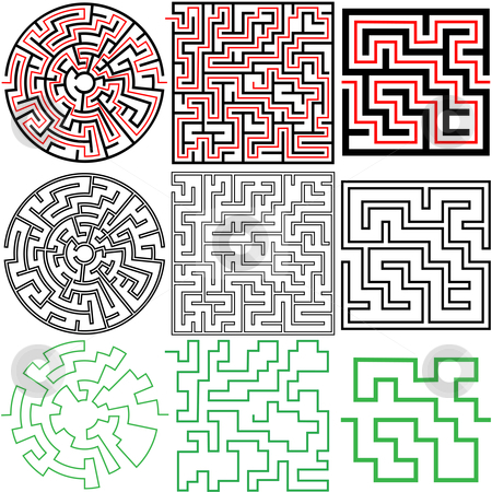 Maze Set of 3 puzzle variations with solutions stock vector clipart, A set of 3 maze puzzles with solutions and in variations of solid and outline. by Michael Brown