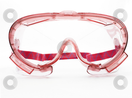 Red Goggles stock photo, Red goggles with strap on a white background by John Teeter