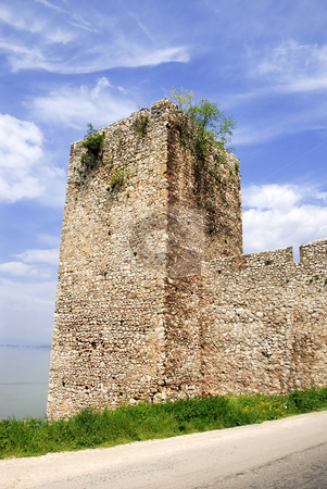 Tower of ancient fortification stock photo, Tower of ancient stone fortification in national park Djerdap, Serbia by Julija Sapic