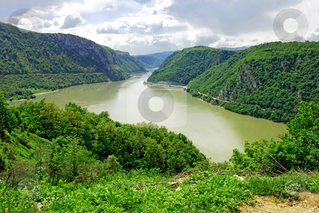 Danube canyon between Serbia and Romania stock photo, Scenic Danube value between Serbia and Romania by Julija Sapic