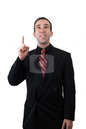 Creativity stock photo, A young businessman who is coming up with new creative ideas, isolated against a white background by Richard Nelson