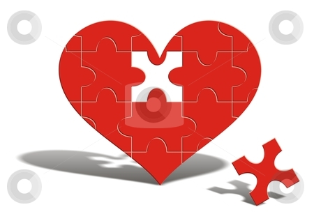 You complete me... stock photo, A puzzle of a red heart with one missing piece near it. It is just waiting to be completed. by Mihai Zaharia