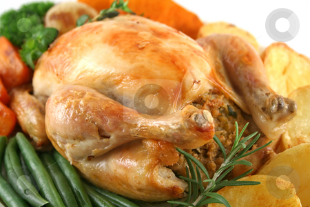 Whole Roast Chicken stock photo, Whole roast chicken with potatoes pumpkin carrots and beans. by Brett Mulcahy