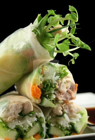 Vietnamese Rice Paper Rolls 3 stock photo, Delicious and healthy Vietnamese rice paper rolls with chicken and vegetables. by Brett Mulcahy