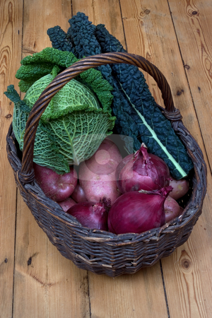 Fresh food stock photo, A basket of fresh vegatables on a wooden floor by Paul Phillips