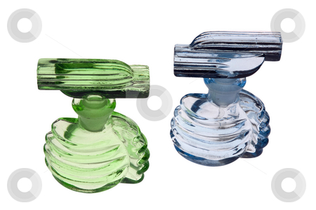 Blue and green stock photo, A green and light blue antique perfume (scent) bottles. Glass with stoppers by Paul Phillips