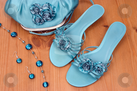 Going out stock photo, Womans bag shoes and accessories ready for a night out by Paul Phillips