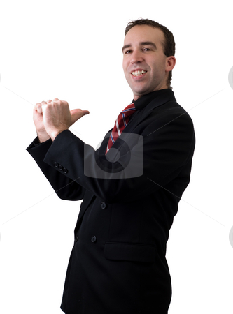 I'm Number One stock photo, A young businessman pointing at himself like he's number one by Richard Nelson