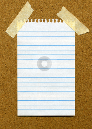 White lined blank paper stuck to a cork noticeboard. stock photo, White lined blank paper stuck to a cork noticeboard. by Stephen Rees