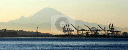 Sunrise over port of Seattle stock photo, Sunrise over Port of Seattle with Mount Rainier in the background. by Philipe Ancheta