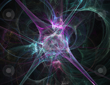 Nerve Endings stock photo, An abstract fractal design over a dark background. by Todd Arena
