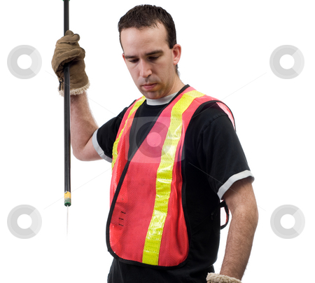 Garbage Cleanup stock photo, A garbage picker with a poking stick, isolated against a white background by Richard Nelson