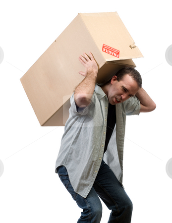 Man Lifting Heavy Box stock photo, A young man lifting a larg heavy box, isolated against a white background by Richard Nelson