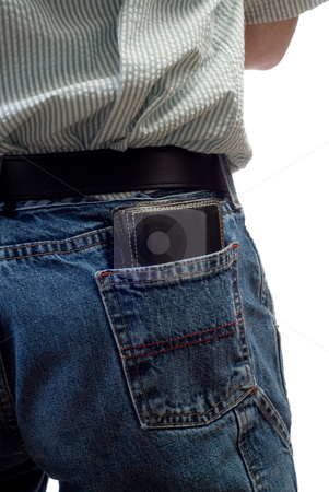 Wallet stock photo, A black wallet sitting in someone's back pocket, isolated against a white background by Richard Nelson
