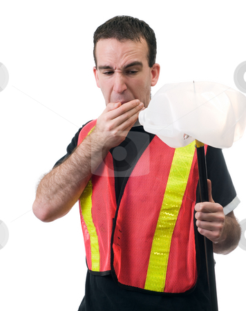 Rotten Milk stock photo, A young worker about to vomit at the smell of rotten milk, isolated against a white background by Richard Nelson