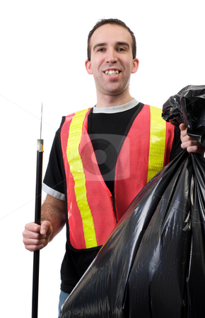 Happy Garbage Cleaner stock photo, A young worker picking up garbage and is smiling, isolated against a white background by Richard Nelson