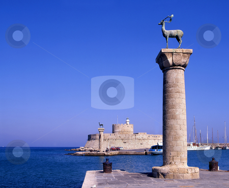 Rhodes entrance stock photo, The entrance to Rhodes old port, Greece by Paul Phillips