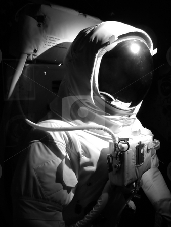 Space man stock photo, A complete astronaut setup under dramatic lighting.  Black and white. by Todd Arena