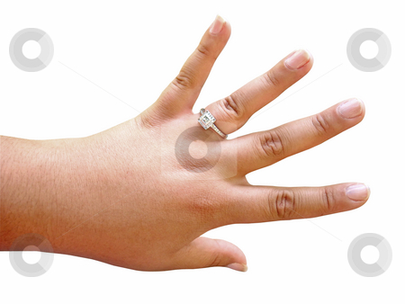 Diamond Engagement Ring stock photo, A woman proudly showing off her custom made engagement ring - isolated over white.  Image includes clipping path. by Todd Arena
